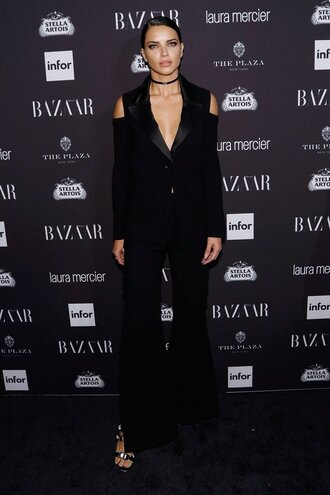 pants blazer choker necklace model off-duty adriana lima suit all black everything