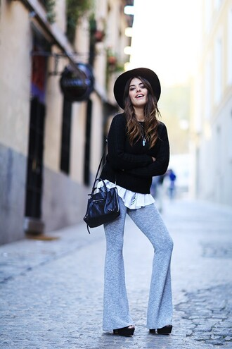 dulceida blogger flare pants grey pants black sweater