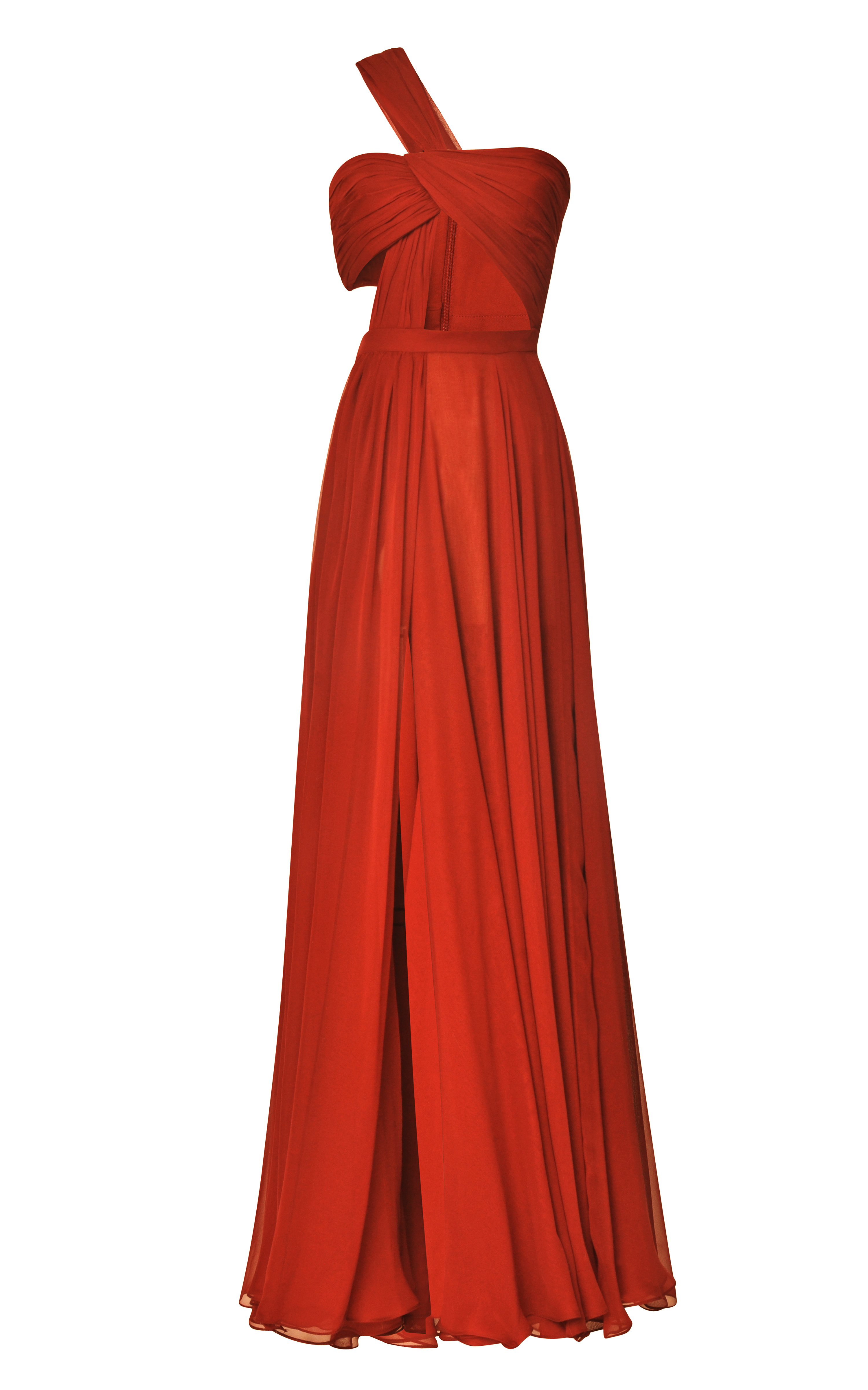 Bordeaux Hand-Draped Chiffon Gown by Prabal Gurung - Moda Operandi
