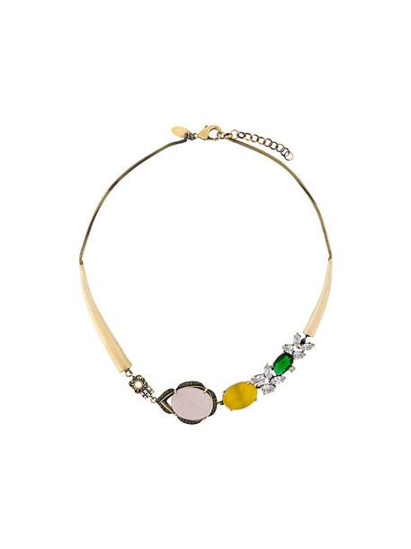 women necklace gold grey metallic jewels