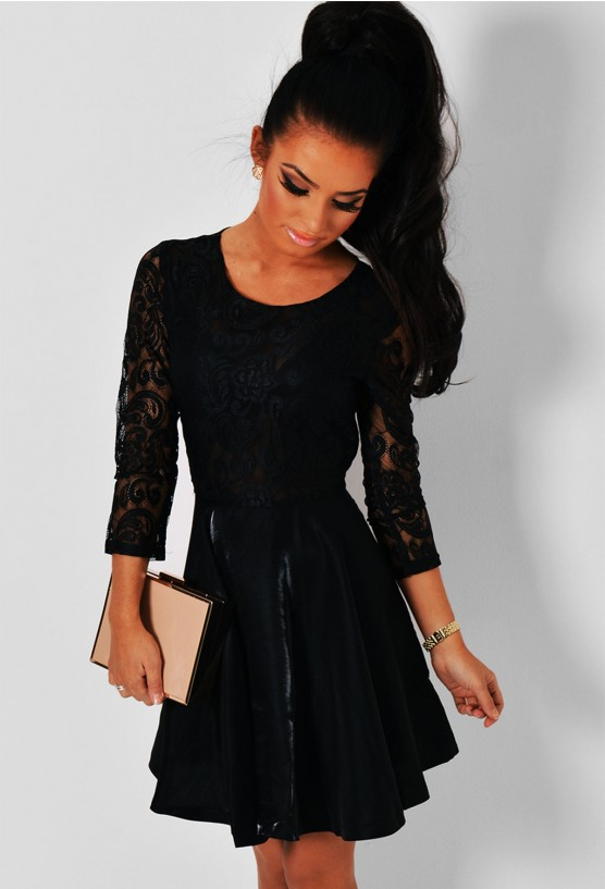 Envious Black Long Sleeved Lace Skater Dress Pink Boutique