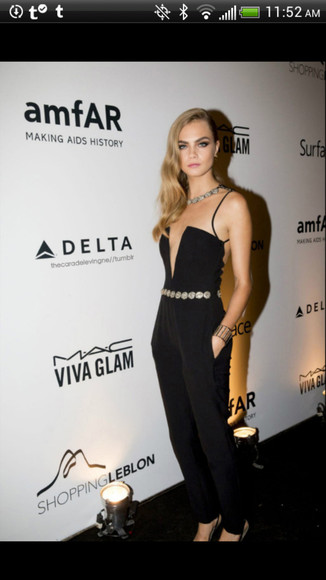 dress cara delevingne jumpsuit jumper black chic style vogue fashion