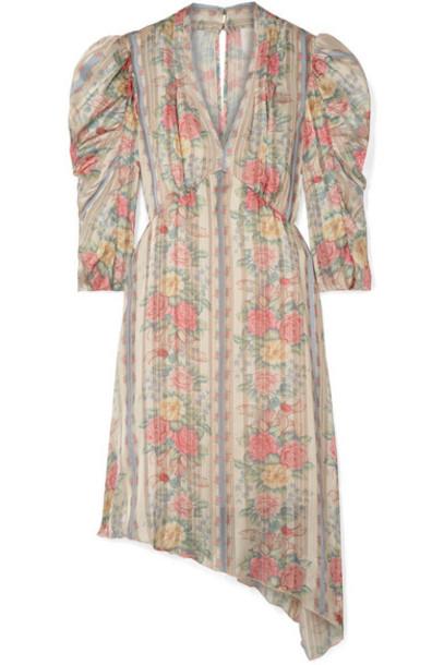Anna Sui - Whisper Rose Floral-print Asymmetric Satin Dress - Pink