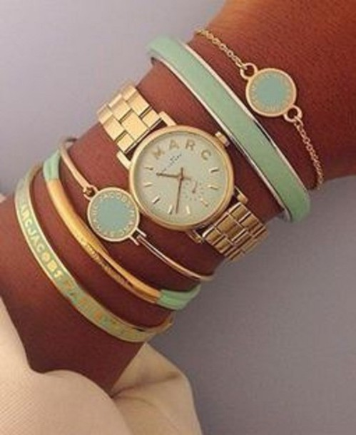 jewels bracelets gold watch green mint marc jacobs