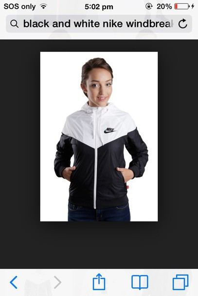 jacket nike windbreaker black and white