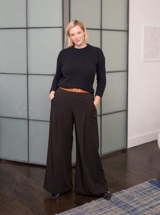 acupofjo blogger sweater pants belt shoes make-up plus size wide-leg pants