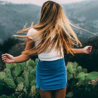 skirt tumblr denim skirt white top summer outfits mini skirt
