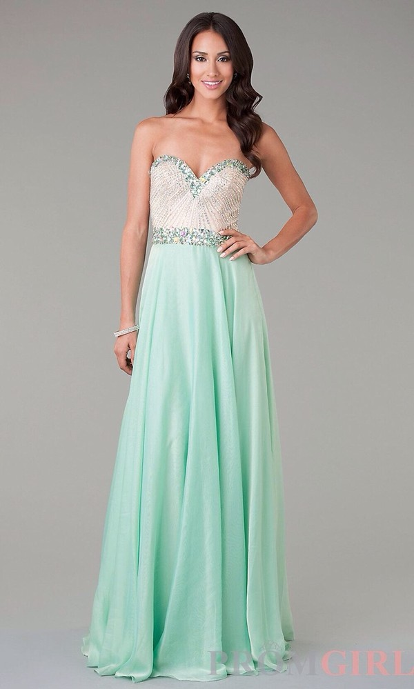 Dress: prom, mint dress, prom dress, long prom dress, silver ...