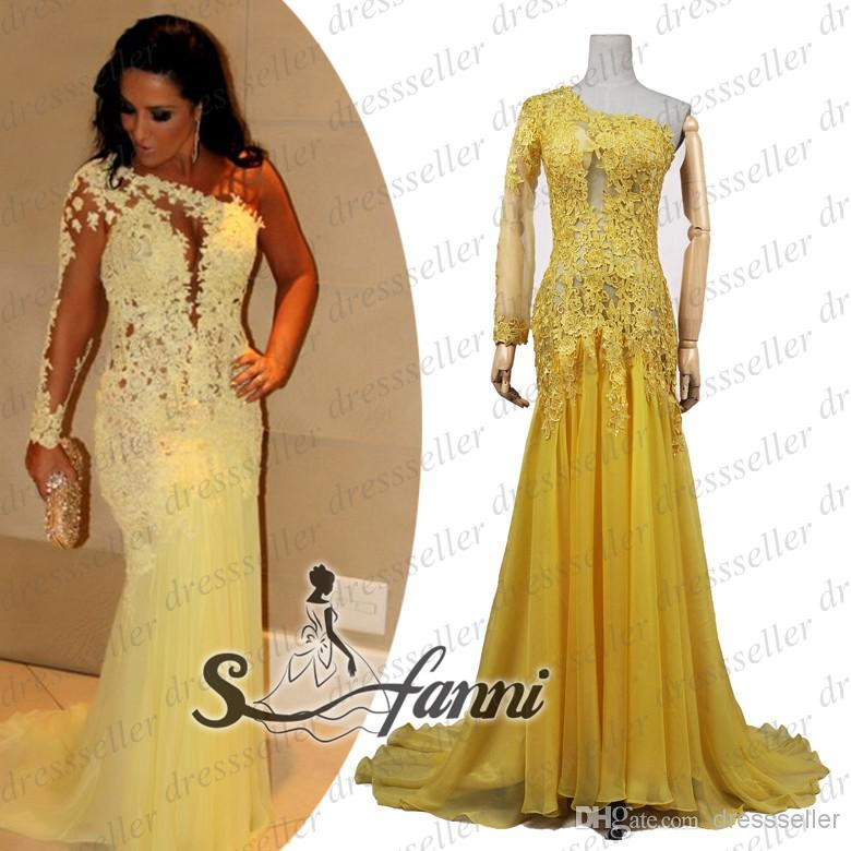 Buy real sample fashion diva style one shoulder one long sleeve sheer back mermaid long ruffle yellow chiffon yellow lace beaded prom dresses, $132.7