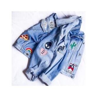 jacket jeans denim jacket denim brandy melville cactus pizza rainbow alien patch patched denim