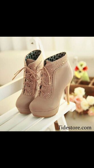 shoes beige shoes booties brown booties with glitter ankle boot beige with laces.