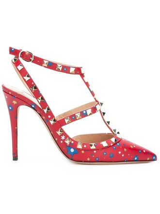 studded women pumps leather red shoes