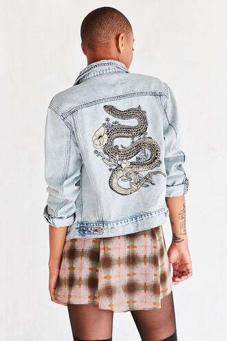 jacket denim jacket denim outerwear embroidered urban outfitters