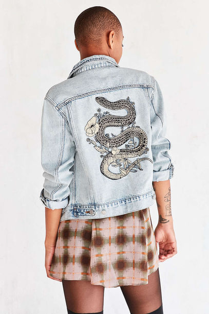 jacket denim jacket denim outerwear embroidered urban outfitters