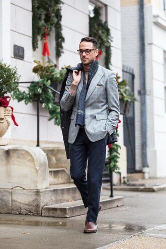 he spoke style blogger scarf mens blazer menswear mens printed scarf