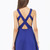 Blue V Neck Backless Strappy Skater Dress - Sheinside.com
