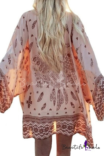 Women Boho Printed Chiffon Loose Kimono Cardigan Tops Blouse