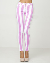pants,stripes,high waisted pants,pink and white,jeans,pink,white,striped pants,spring,summer