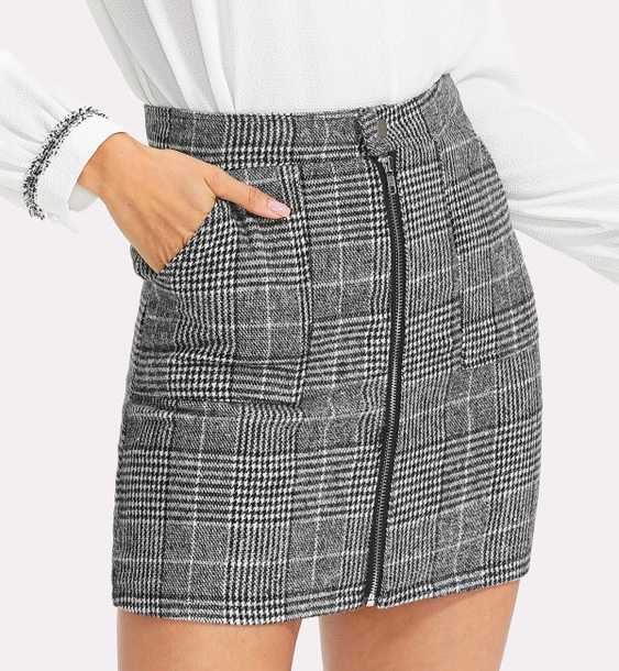 skirt girly plaid zip zipped skirt plaid skirt
