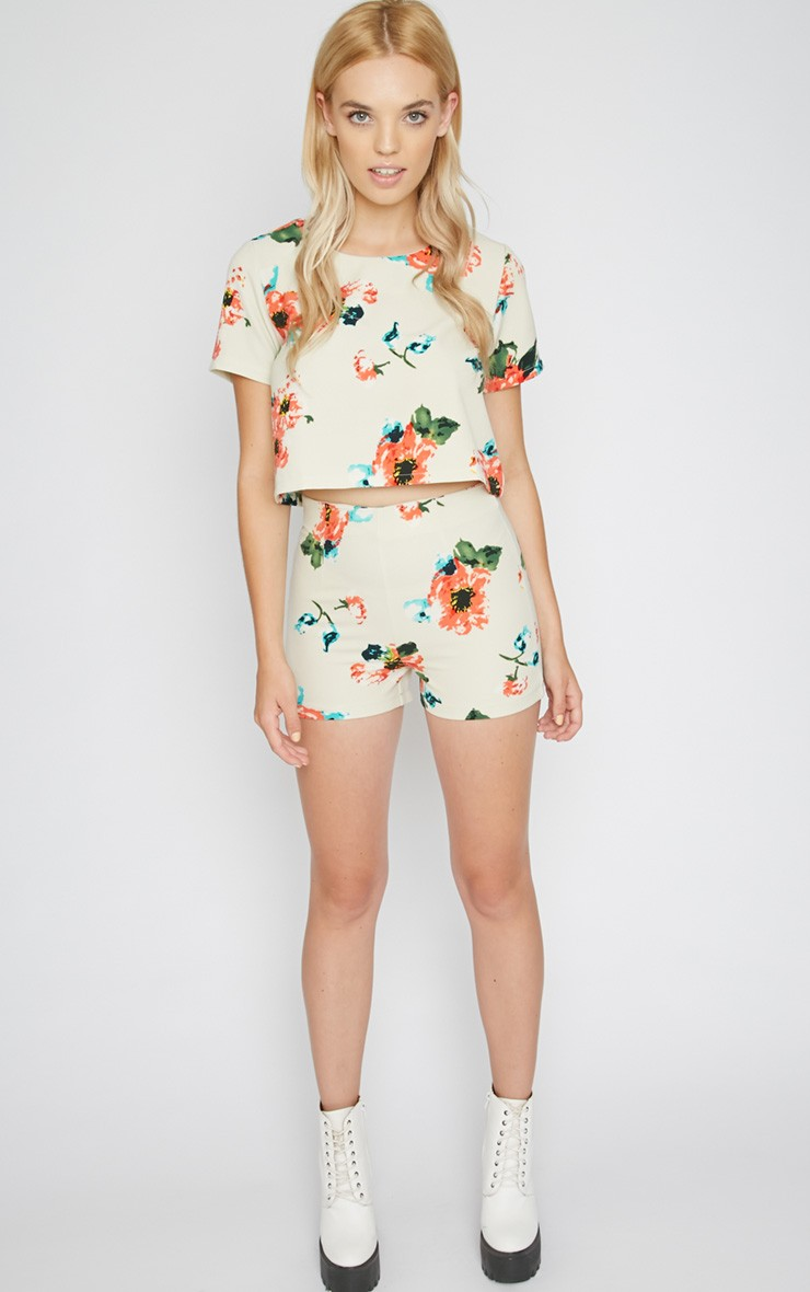 Marianne Cream Floral Short - Shorts - Coords - PrettyLittleThing | PrettyLittleThing.com