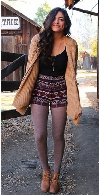 shorts bethany mota shoes leggings sweater top outfit cardigan tank top shirt jacket