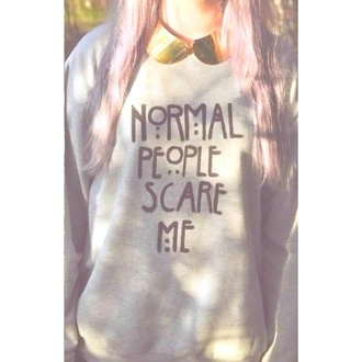 sweater grey girl girly hipster grunge soft grunge normal people scare me winter outfits fall outfits