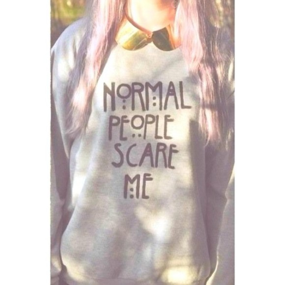 sweater autumn, winter winter grey girl girly hipster grunge soft grunge normal people scare me