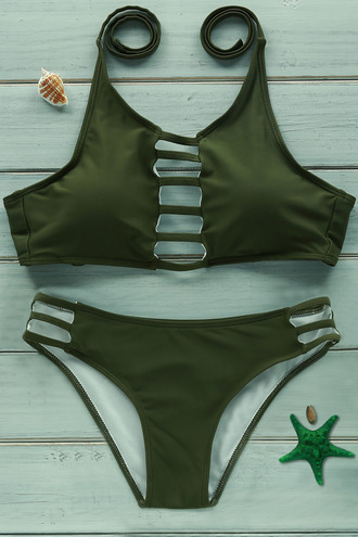 swimwear green bikini summer beach trendy fashion