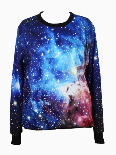 Sweatshirt In Blue Galaxy Print | Choies