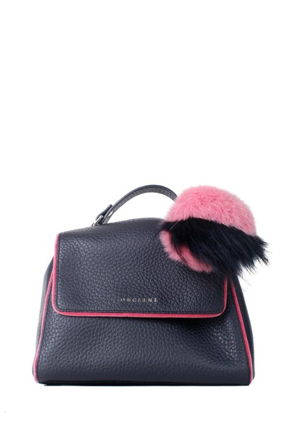 Orciani mini bag tote bag leather black pink black and pink pink leather