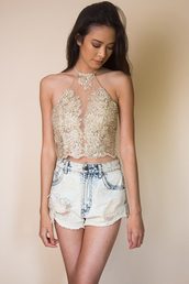 top,miss edgy,halter neck top,fashiondaily,sexy,gold crop top,embroidered top,embroidery crop top,festival,festival top,crop tops,halter top,lace top,lace crop top,halter neck,fashionista,black mesh lace top dress,embroidered