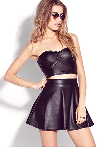 Biker-Chic Faux Leather Bustier | FOREVER21 - 2000074905