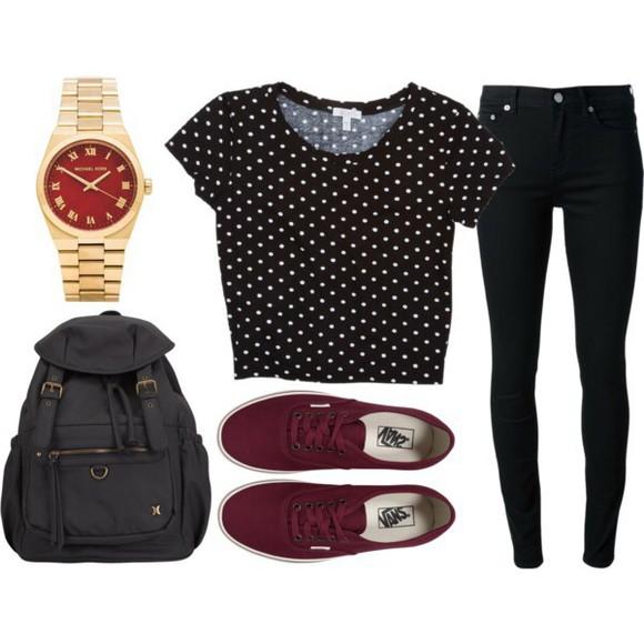 polka dots crop tops backpack burgundy leather backpack