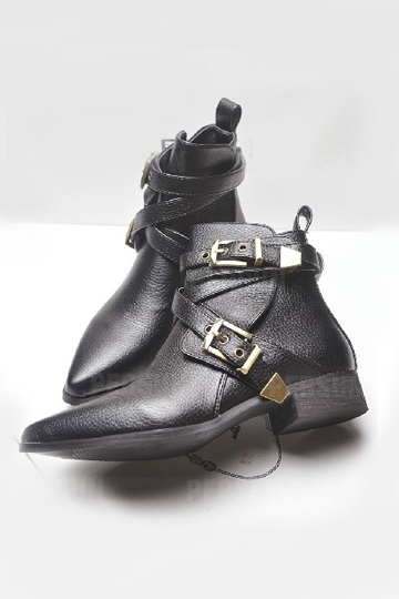 Punk Leather Ankle Boot with Straps [FABI1282] - PersunMall.com
