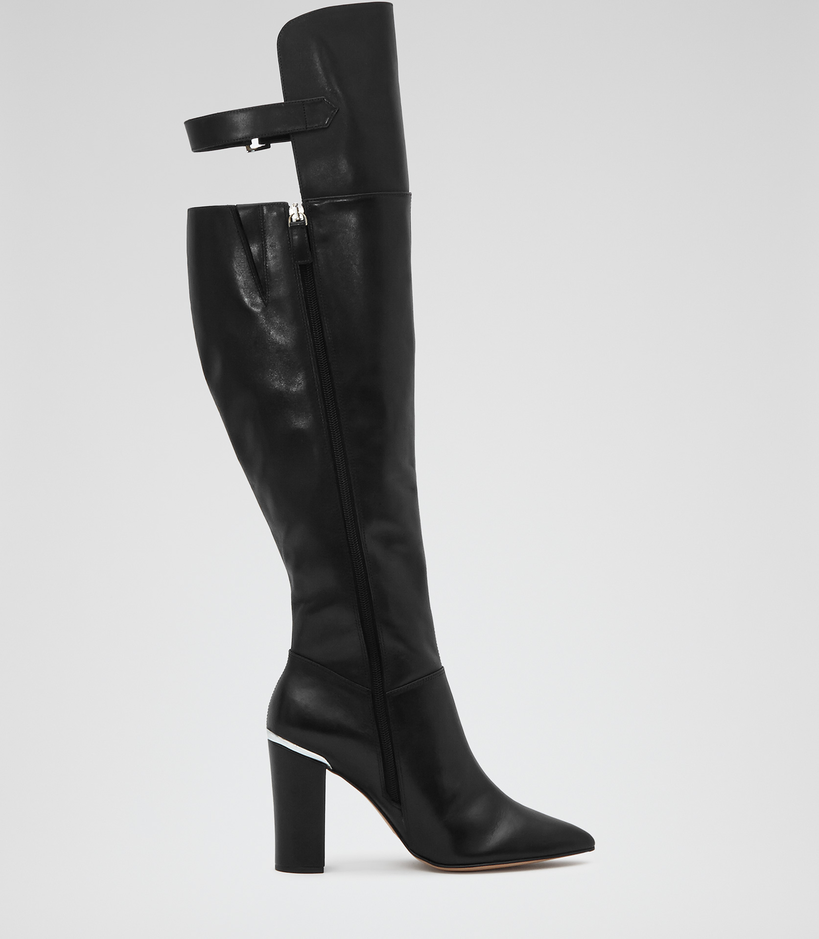 Swanson Black Over-the-knee Leather Boots - REISS