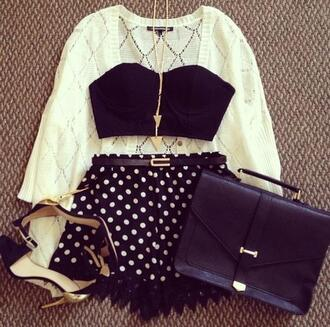 shorts polka dots high heels lace crop tops gold bustier bag sweater knitted sweater gold sequins black lace jacket