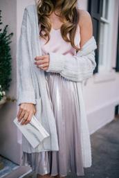 skirt,tumblr,silver,metallic,metallic pleated skirt,pleated,pleated skirt,cardigan,grey cardigan,top,white top,bag,clutch,metallic clutch