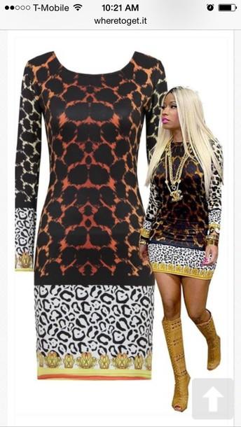 dress nicki minaj leopard bodycon