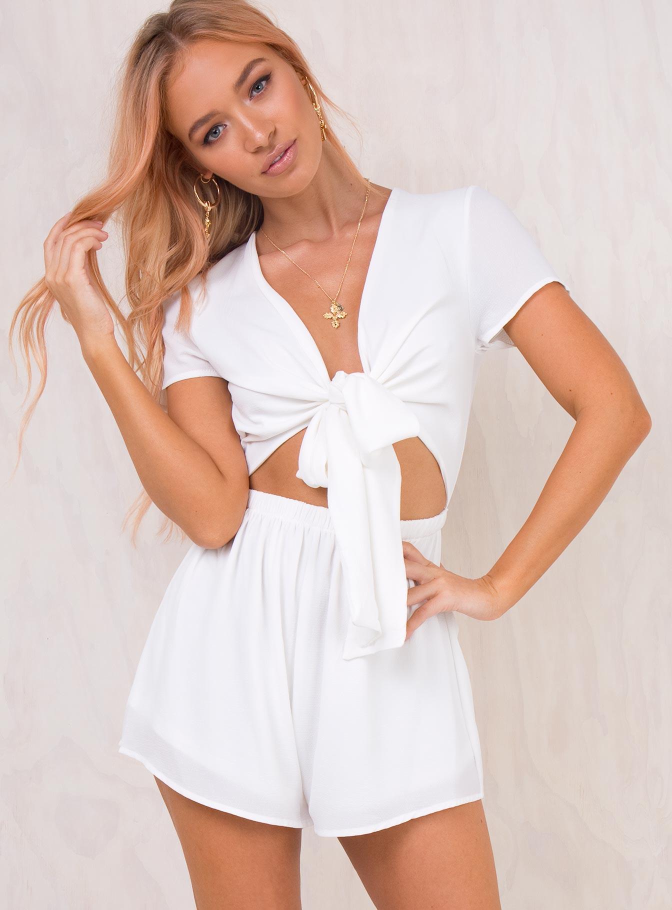 Sweet Sahara Tie Front Playsuit White | Princess Polly Australia