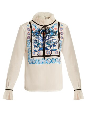 blouse embroidered floral silk white top