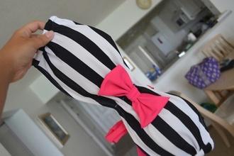 swimwear rose swimming costume pink swimwear black white stripes bow bows shirt blush light pink baby pink miu miu bikini beach