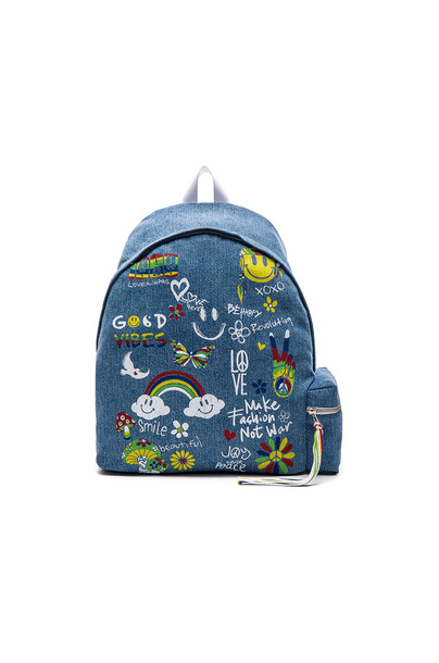 Lauren Moshi Quincy Patchwork Backpack in blue