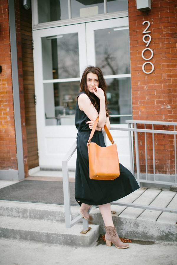 themiddlecloset blogger dress jacket shoes bag spring outfits midi dress black dress ankle boots