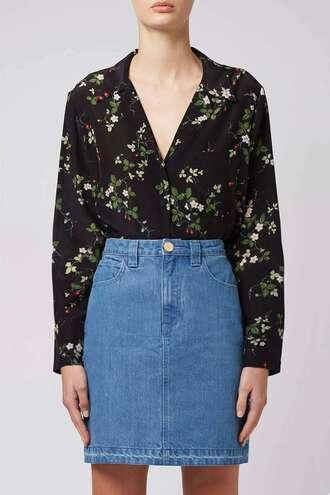 shirt pajamas printed shirt floral button up topshop