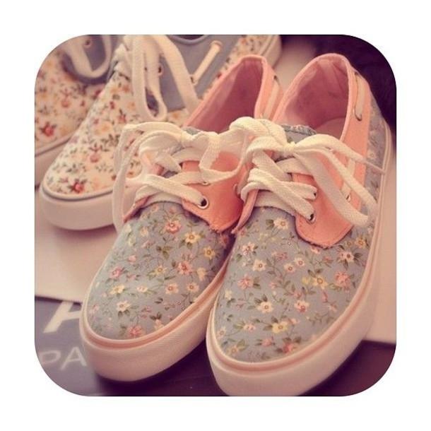 Vans Pastel Pink Shoes Pastel Floral Vans