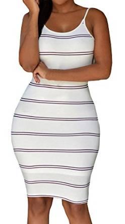 Pxmoda Women's New Sleeveless Sexy Backless Stripe Dress: Amazon Fashion
