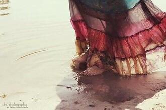 skirt long skirt coloured multicolor hippie