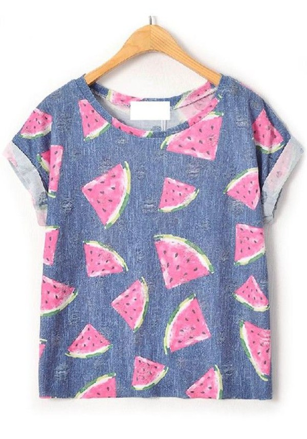t-shirt top graphic tee watermelon print watermelon shirt weheartit summer shirt watermelon print tshirt.