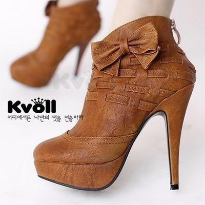 Kvoll hot selling knitted patchwork bow platform short leg boots high heeled boots female ankle boots spring and autumn boots-inBoots from Shoes on Aliexpress.com