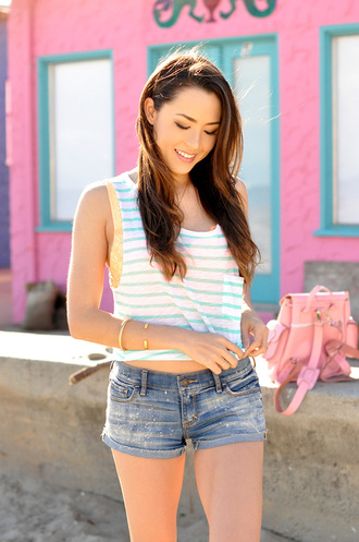hapa time blogger tank top shorts striped top summer top denim shorts